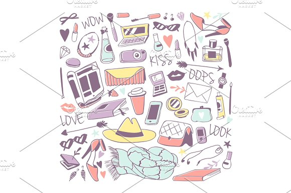 Girls Fashion Icons Stickers Vector Illustration