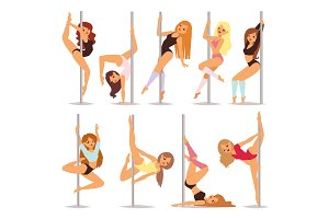 Set of pole dance women cartoon style isolated on white background and young slim beautiful pilon striptease girl showing some tricks vector illustration.