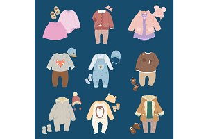 Infants baby child clothes vector.