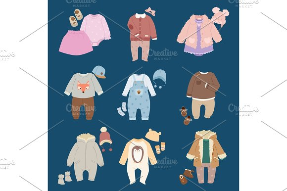 Infants Baby Child Clothes Vector