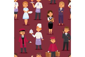 Hotel professions people workers happy receptionist standing at hotel counter and cute characters in uniform seamless pattern vector illustration