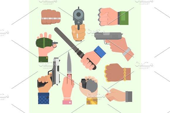 Hand Firing With Gun Vector