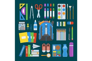 School bag vector set.