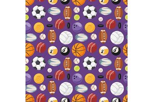 Set of balls isolated vector seamless pattern