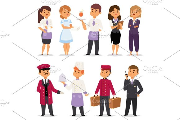 Hotel Professions People Workers Happy Receptionist Standing At Hotel Counter And Cute Characters In Uniform Reservation Entry Service Vector Illustration
