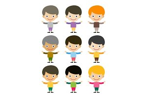 Boy portrait fun happy young expression cute teenager cartoon character and happyness little kid flat human cheerful joy casual childhood life vector illustration.