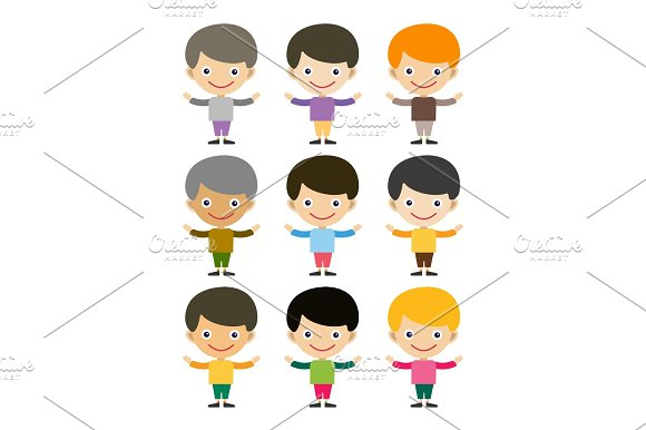 Boy Portrait Fun Happy Young Expression Cute Teenager Cartoon Character And Happyness Little Kid Flat Human Cheerful Joy Casual Childhood Life Vector Illustration