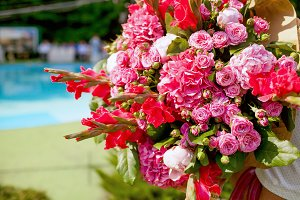 Wedding decorating bouquet of roses and peons, closeup