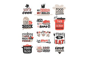 Food logotype restaurant vintage design cooking text phrases badge element label icon and hand drawn stamp retro template vector illustration.