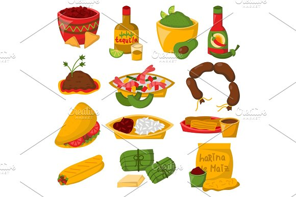 Mexican Traditional Food With Meat Avocado Tequila Corn Isolated And Spicy Pepper Salsa Lunch Sauce Cuisine Vector Illustration