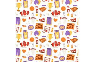 Basketball stickers vector icons seamless pattern