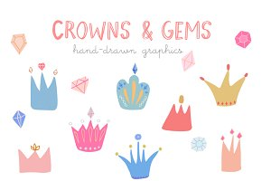 Crowns and gems hand drawn clipart