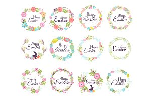 Happy easter hand drawn badge hand lettering greeting decoration element and natural wreath spring flower vector illustration