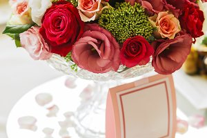 Beautiful tenderless bouquet on wedding table, in vase