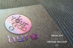Iridescent Emboss Vintage Mockup