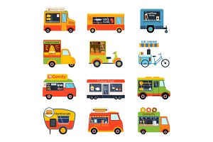 Street food festival color trailer vector restaurant car.