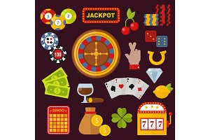Casino icons set with roulette gambler joker slot machine isolated on white vector illustration.