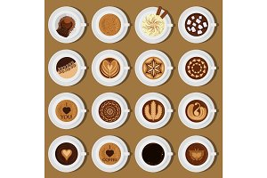 Coffee cups top view collection vector illustration different assortment