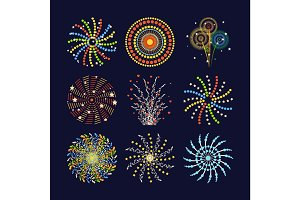 Firework different shapes colorful festive and bright carnival or birthday design for brochures poster, wrapping paper, greeting card vector illustration.