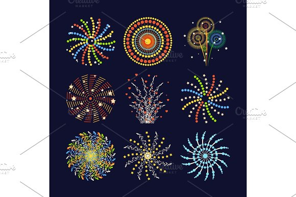 Firework Different Shapes Colorful Festive And Bright Carnival Or Birthday Design For Brochures Poster Wrapping Paper Greeting Card Vector Illustration