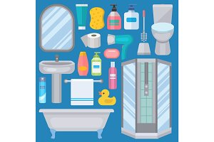Bath equipment icons made in modern shower flat style colorful clip art illustration for bathroom interior hygiene vector design.
