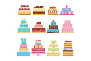 Wedding cake pie sweets dessert bakery flat simple style isolated on white vector illustration.