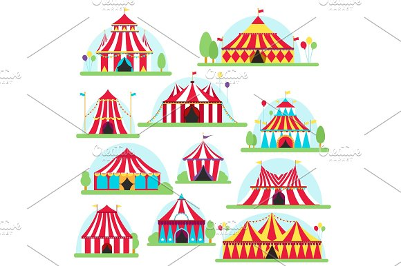 Circus Tent Marquee With Stripes And Flags Isolated Ideal For Carnival Signs