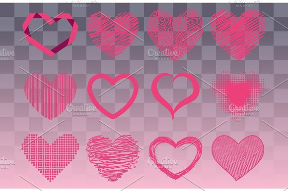 Differents Style Red Heart Vector Icon Isolated Love Valentine Day Symbol And Romantic Design Wedding Beautiful Celebrate Bright Emotion Passion Sign Illustration