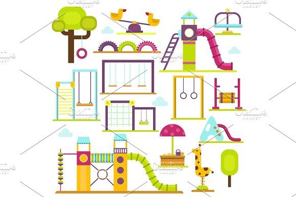 Children Playground Vectoroutdoor Kids Time Illustration