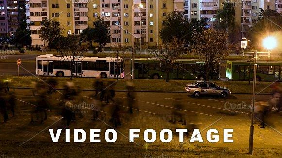 People Walk Through The Night Time-lapse