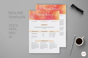 Watercolor Resume Template