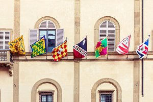 Siena city flags in Italy