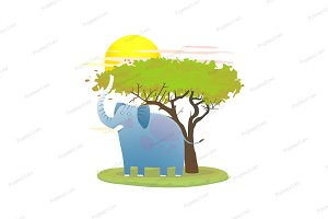 Blue Baby Elephant in nature