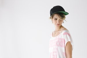 Portrait of girl with hat  on white background