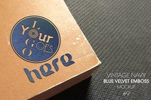 Blue Velvet Emboss Logo Mockup