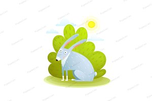 Cute kids Rabbit in forest