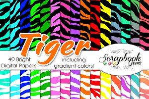 TIGER BRIGHT PRINT DIGITAL PAPERS