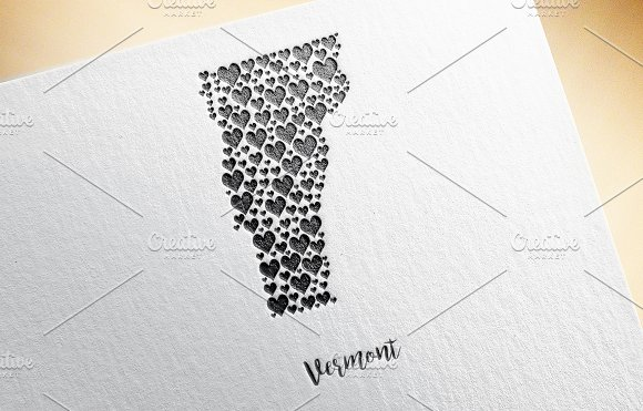 Vermont Map With Hearts