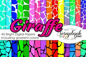 GIRAFFE BRIGHT PRINT DIGITAL PAPERS
