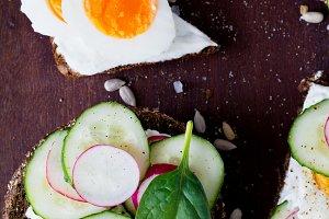 Radish, cucumber and egg toasts