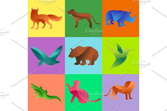 Wild Animals Jungle Pets Logo Silhouette Of Geometric Polygon Abstract Character And Nature Art Graphic Creative Zoo Triangle Vector Illustration