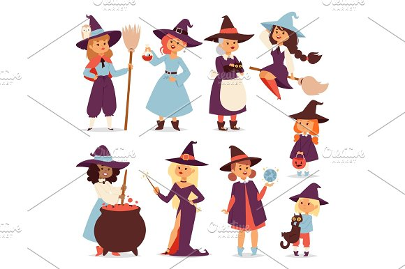 Cute Little Witch With Broom Cartoon Cat For Print On Bag Magic Halloween Card And Fantasy Young Girls Character In Costume Hat Vector Illustration