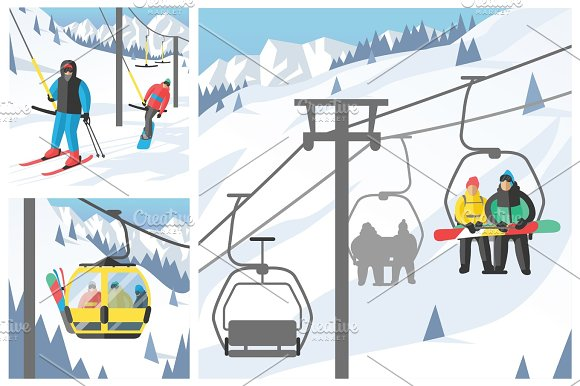Snowboarder Sitting In Ski Gondola And Lift Elevators Winter Sport Resort Snowboard People Rest Lifting Jump Vector Illustration Mountain