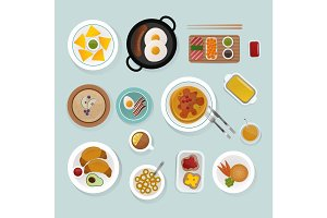 Healthy breakfast food top view vector illustration.