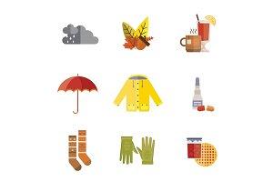 autumn clothes set the fall tree rain hat scarf gloves coat raincoat parka tea socks boots mulled wine vector illustration umbrella