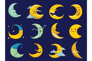Different moon cartoon face month illustration.