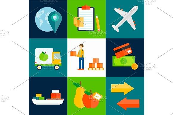 Import Export Fruits Vector Illustration