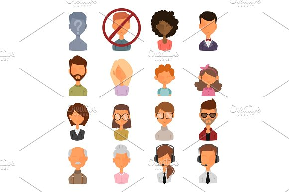 Set Of People Portrait Face Icons Web Avatars Flat Style Vector