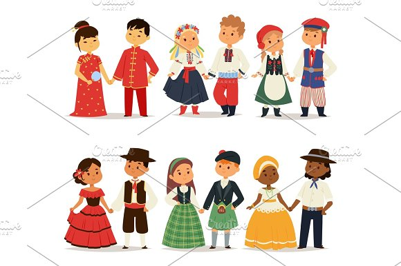 Traditional Kids Couples Character Of World Dress Girls And Boys In Different National Costumes And Cute Little Children Nationality Dress Vector Illustration