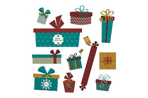 Gift box isolated present vector illustration.